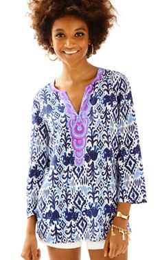 RENATO TUNIC - TONS OF FUN - Bright Navy Tons Of Fun Dinner Tunic by Lilly Pulitzer
