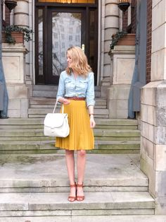 Yellow Skirt Daily Outfit - belted skirt and chambray top Best Picture For outfits chic For Your Taste You are looking for so - Yellow Skirt Outfits, Pleated Skirt Outfit, Yellow Dress, Yellow Pleated Skirt, Mustard Yellow Outfit, Yellow Skirts, Swag Dress, Midi Skirt, Modest Dresses