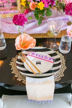 Acrylic place cards with Kate Spade china, black and white stripes, paper flowers, gold glitter, dip-dyed napkins  | Summer Engagement Dinner | Lovelyfest Event Design