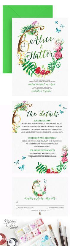 Disney Wedding Invitations, Watercolor Wedding Invitations, Wedding Invitation Suite, Watercolor Artwork, Reception, Bride, Handmade Gifts, Etsy, Wedding Bride
