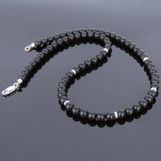 6mm Matte Black Onyx Healing Gemstone Necklace with S925 Sterling Silver Spacer Beads & Clasp - Handmade by Gem & Silver NK070