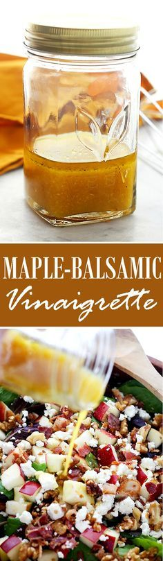 Maple-Balsamic Vinaigrette | www.diethood.com | A classic vinaigrette salad dressing made with maple syrup and dijon mustard. It's wonderful on salads, pastas, and works great as a marinade for meats. Maple Balsamic, Salad Dressing Recipes, Vinaigrette, Cereal, Homemade, Diy Crafts, Hand Made, Diy, Corn Flakes