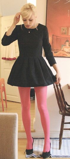b0b89a53e8fc Pink tights delight! That contrast adds a whole extra dimension to that  black skater dress