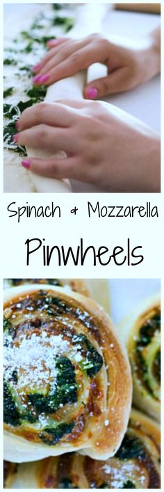 Spinach & Mozzarella Pinwheels!  So easy and delicious!  The perfect appetizer or anytime snack!  YUM.