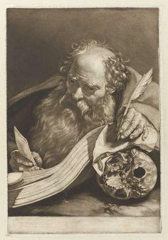 Nicolaas Verkolje   Apostel Paulus, Nicolaas Verkolje, 1683 - 1746   De H. Paulus zit aan een tafel waarop een foliant. Hij heeft een schrijfveer in de linkerhand, die rust op een doodshoofd. In zijn rechterhand een brief.