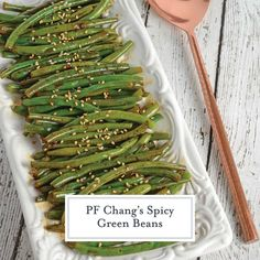 PF Chang's Spicy Green Beans Easy Asian Side Dish Recipe - PF Chang's Spicy Green Beans are an easy and flavorful side dish recipe. Just 6 ingredients for the best green bean recipe! Good Green Bean Recipe, Fresh Green Bean Recipes, Recipe For Frozen Green Beans, Asian Green Beans, Chinese Green Beans, Pf Changs Spicy Green Beans Recipe, Thai Green Beans Recipe, Vegetable Dishes, Vegetable Recipes