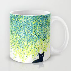 Cat in the garden under willow tree coffee mug by Budi Kwan #coffeemugs