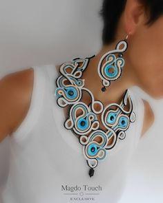 OOAK statement soutache set soutache necklace soutache earrings gift idea for her favorite jewelry elegant earrings exclusive jewelry set Boho Jewelry, Jewelry Sets, Handmade Jewelry, Jewelry Design, Jewellery Box, Jewelry Stores, Amber Jewelry, Jewellery Shops, Soutache Necklace