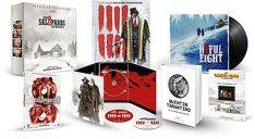 Contenu du coffret prestige Les 8 Salopards : DVD Blu-Ray, un morceau de pellicule 8mm, la BOF en double vinyles, un livre sur #Tarantino, l'affiche du film dédicacée.