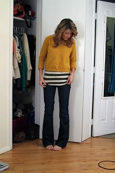 I found a yellow pullover sweater at Anthropologie and put my striped tee under!  Perfect!