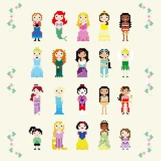 Grand Sewing Embroidery Designs At Home Ideas. Beauteous Finished Sewing Embroidery Designs At Home Ideas. Pixar, Anna Frozen, Cross Stitch Bookmarks, Cross Stitch Patterns, Pixel Art, Aladdin, Frog Princess, Sailor Princess, Cross Stitch Family