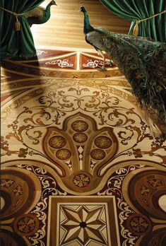 These exquisite Wood Flooring Laser Inlays can be done in a stenciled and multi-tonal stain