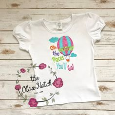 Oh the Places You'll Go Applique Shirt by TheOliveHatch on Etsy