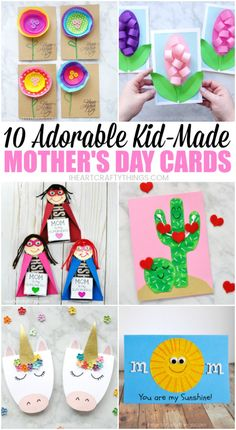 Here is list of 10 adorable Mother's Day cardmaking ideas that are simple enough that kids can make on their own. Whether you are looking for an easy template for kids to use or simply need an idea that even toddlers and preschoolers can create, you'll find a variety of Mother's Day Card ideas below for kids of all ages. #mothersdaygift #mothersdayidea #cardmaking #mothersday #iheartcraftythings