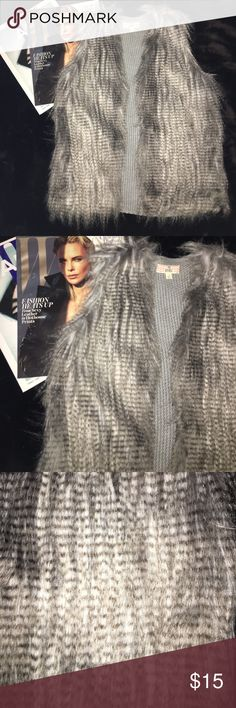 Pink Republic grey faux fur vest Pretty shaggy grey faux fur vest. In perfect condition. Never worn. Fits sizes small to medium. Very high fashion and chic. Pink Republic Jackets & Coats Vests