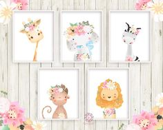 5 Boho Zebra Elephant Giraffe Baby Girl Nursery Wall Art Print Ethereal Whimsical Monkey Lion Bohemian Floral Zoo Safari Animal Set Lot Prints Printable Decor