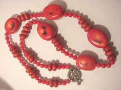 BLOOD RED CORAL NECKLACE HUGE CHUNKY SHOWPIECE #StrandString