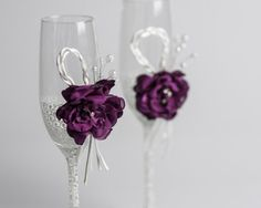 White pearl and purple wedding glasses with and by DiAmoreDS, $50.00
