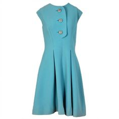 Preowned 1960's Pauline Trigere Baby-blue Studded Crepe Dress & Cape... (2.615 BRL) ❤ liked on Polyvore featuring dresses, blue, baby blue dress, baby blue vintage dress, back zipper dress, blue dress and blue crepe dress