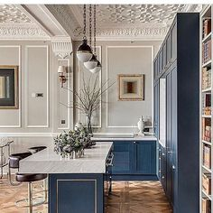 Kitchen inspo blue and neutral