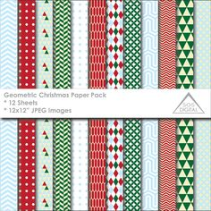 Geometric Christmas Digital Paper Pack, Christmas Patterns, Modern Christmas, printable paper, Small Commercial Use, 12 inch papers, jpg  ~ 12 JPEG