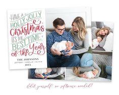 Christmas Card Template, Printable Christmas Cards, Merry Christmas Card, Christmas Photo Cards, Christmas Photos, Holiday Cards, Christmas Christmas, Holiday Birth Announcement, Birth Announcement Template