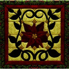 """Christmas in July-Can't get better than this! Christmas+Poinsettia+Quilt+Magic+Kit-12""""X12"""""""