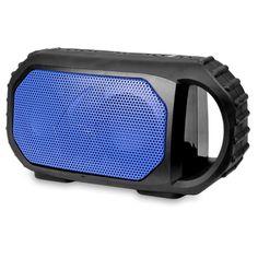 ECOXGEAR EcoStone Rugged Waterproof Bluetooth Wireless Speaker (Black w-Blue Grill) - B