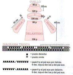 Patrón de punto trenza y molde de suéter dos agujas