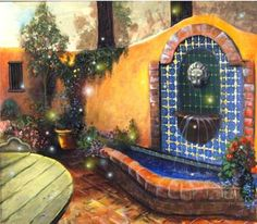 """""""Tuscan courtyard with fireflies"""" by Mary Rucker: It's evening in this Tuscan Courtyard and the fire flies have come out to decorate the evening. Set a while with a glass of wine and enjoy this peaceful romantic garden evening. Mexican Courtyard, Tuscan Courtyard, Mexican Patio, Spanish Courtyard, Mexican Garden, Mexican Hacienda, Mexican Home Decor, Spanish Patio, Hacienda Style"""
