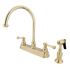 Vintage Deck Mount Double Handle Centerset Kitchen Faucet with Buckingham Lever Handles