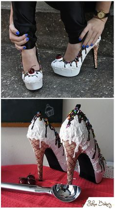 Vanilla Ice Cream Heels by Shoe Bakery I Love My Shoes, Crazy Shoes, Me Too Shoes, Ice Cream Shoes, Muses Shoes, Kawaii Shoes, Shoe Boots, Shoes Heels, Jeweled Shoes