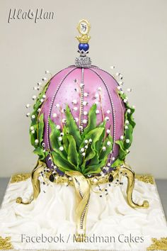 {Awe-inspiring Faberge Egg Cake decorated with Lilies of the Valley by MLADMAN}