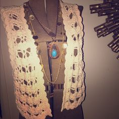 Crochet boho vest Cute as can be sweater vest.  I wear it over my boho fashions as an extra layer of interest and to add texture and interest to my look.  Goes with everything!! White House Black Market Tops