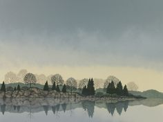 """Misty reflection by Elisabeth Sommerville Stone lithograph ~ 18"""" x 24"""""""