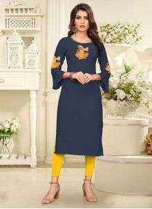 Buy Rayon Embroidered Cream Party Wear Kurti Online Dress Up, High Neck Dress, Blue Party, Off White Color, Fabric Shop, Designer Gowns, Lehenga Choli, Party Wear, Kurti