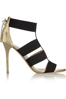 Jimmy Choo Dario elastic and mirrored-leather sandals | NET-A-PORTER