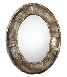 405 Harmony Oval Wall Mirror with Hand Forged Crude Metal Strip Frame *** Click image for more details.