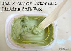 How To Tint Wax With Chalk Paint - tutorial shows how to color wax with chalk paint, then use over a chalk painted project.