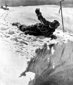 """""""Douglas Mawson peering over edge of crevase into which his comrade Lt. Minnis has fallen along w. sled, dogs and supplies during Arctic expedition."""""""