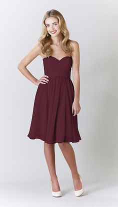 Kennedy Blue Addison is a gorgeous knee length crinkle chiffon bridesmaid dress which features a strapless silhouette and a flattering ruched bodice and sweetheart neckline.