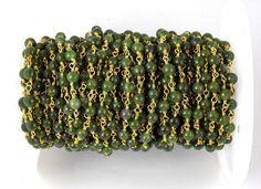 5 Feet Taiwan Green Jade Smooth Rosary Beaded chain 4mm 24k Gold Plated Beads #luctsa #Smooth
