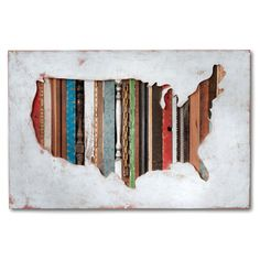 US Map Original Art on Wood, American Souvenir Collection by Dolan Geiman