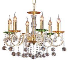 Golden Amber Bobeche Six Light Egyptian Crystal Chandelier -