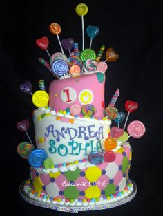 Who doesn't love a topsy~turvy cake?  Candy themed birthday cake.