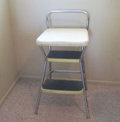 Vintage Chair / Step Stool Combo / Retro Chrome Furniture