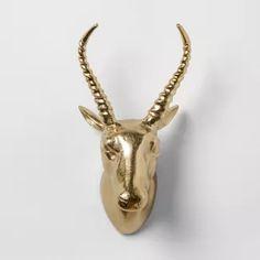 "Antelope Cast Metal Decorative Wall Sculpture Gold 12.4""x 7"" - Opalhouse™"