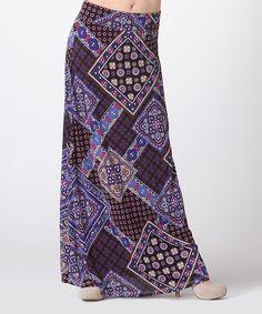 Purple & Blue Mosaic Maxi Skirt