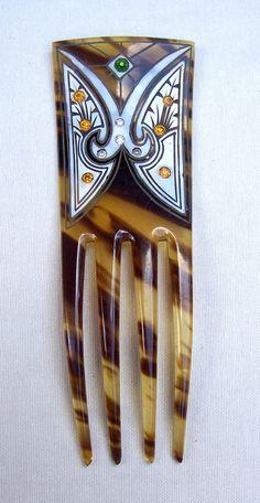 Art Nouveau hair comb faux tortoiseshell hand by ElrondsEmporium