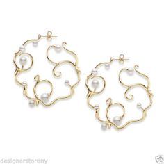 These are really cool, but i don't know what they would look like on... Mikimoto Akoya 18 Karat Yellow Gold Cultured Pearl Swirl Hoop Earrings $5100 | eBay